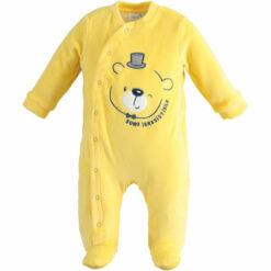 """Φορμάκι βρεφικό βελουτέ με κουμπιά μπροστά """"Yellow Winking Bear"""""""