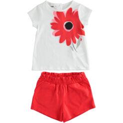 """Σετ κοντομάνικη μπλούζα με σορτς """"Red Flower"""""""