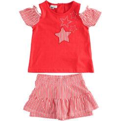 """Σετ κοντομάνικη μπλούζα με σορτς """"Stars in Red"""""""