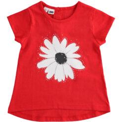 """Κοντομάνικη μπλούζα με τύπωμα και στρας """"Flower Strass"""""""