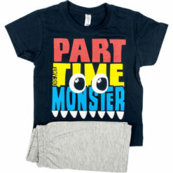 """Πιτζάμα με κοντομάνικη μπλούζα και σορτσάκι """"Part time monster"""""""