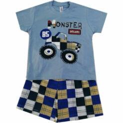 """Πιτζάμα με κοντομάνικη μπλούζα και σορτσάκι """"Monster"""""""