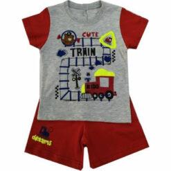 """Πιτζάμα με κοντομάνικη μπλούζα και σορτσάκι """"Cute train"""""""