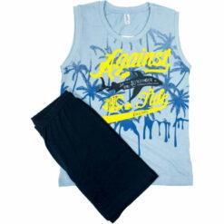 """Πιτζάμα με αμάνικη μπλούζα και σορτσάκι """"Against the tides"""""""