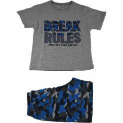 """Πιτζάμα με κοντομάνικη μπλούζα και σορτσάκι """"Break rules"""""""