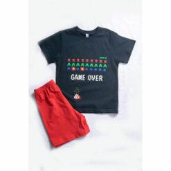 """Πιτζάμα με κοντομάνικη μπλούζα και σορτσάκι """"Game over"""""""
