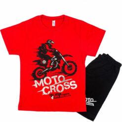"""Πιτζάμα με κοντομάνικη μπλούζα και σορτσάκι """"Moto cross"""""""