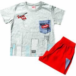 """Σετ κοντομάνικη μπλούζα με βερμούδα """"Center palace"""""""