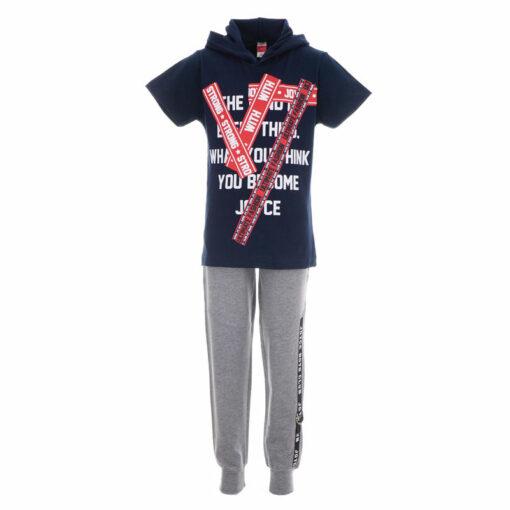 """Σετ κοντομάνικη μπλούζα με κουκούλα και παντελόνι φόρμας """"Strong with Joyce"""""""
