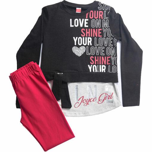 """Σετ μακρυμάνικη μπλούζα με κολάν """"Shine your Love"""""""
