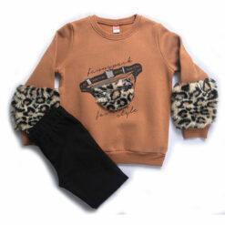 """Σετ μακρυμάνικη μπλούζα με παντελόνι κολάν """"Furry Purse"""""""