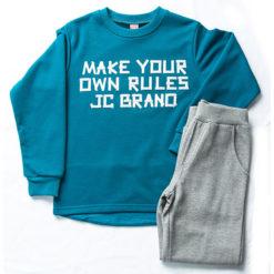 """Σετ μπλούζα φούτερ λεπτή με φόρμα παντελόνι """"Make your own Rules"""""""