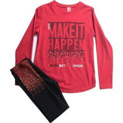 """Σετ μακρυμάνικη μπλούζα με κολάν """"Make it Happen"""""""