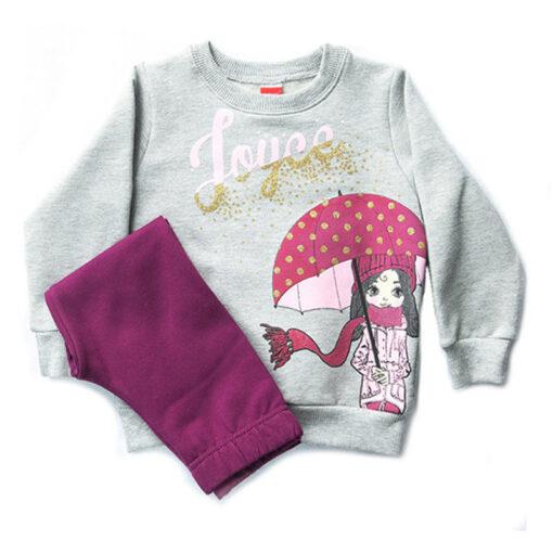 """Σετ μακρυμάνικη μπλούζα με κολάν """"Girl with Umbrella"""""""