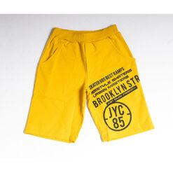 """Βερμούδα βαμβακερή με λοξές τσέπες και σχέδιο γράμματα """"Brooklyn 85"""""""