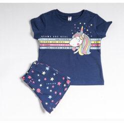"""Σετ πιτζάμες με  κοντομάνικη μπλούζα και σορτσάκι """"Unicorns are Real"""""""