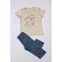 """Σετ πιτζάμες με κοντομάνικη μπλούζα και κοντό κολάν """"Dreams like a Unicorn"""""""