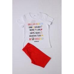 """Σετ πιτζάμες με  κοντομάνικη μπλούζα και κοντό κολάν """"Girls aer born to shine"""""""
