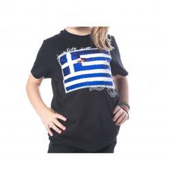 """Κοντομάνικη μπλούζα με παγιέτες """"Greek flag"""""""