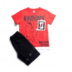 """Σετ κοντομάνικη μπλούζα με βερμούδα """"Explore"""""""