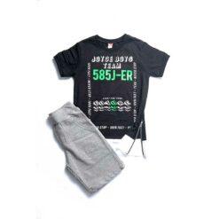 """Σετ κοντομάνικη μπλούζα με φερμουάρ στο πλάι και βερμούδα """"Never Stop"""""""