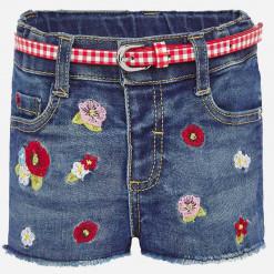 """Σορτσάκι τζιν με ζώνη καρό και κέντητα λουλούδια """"Baby jean shorts"""""""