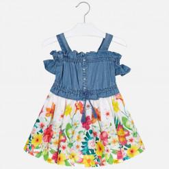 """Φόρεμα κοντομάνικο με τιράντες """"Λουλούδια"""""""