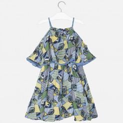 """Φόρεμα με τιράντες σταμπωτό και κρόσια """"Blue leaves"""""""