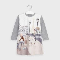 """Φόρεμα μακρυμάνικο πλεκτό """"Πύργος του Άιφελ"""""""