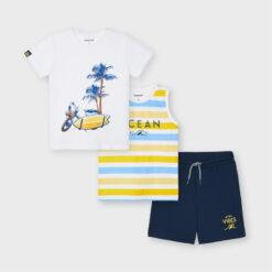 """Σετ κοντομάνικη μπλούζα με αμάνικη μπλούζα και βερμούδα """"Ocean"""""""
