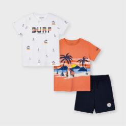 """Σετ δύο κοντομάνικες μπλούζες με βερμούδα """"Surf"""""""