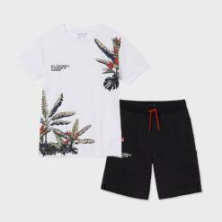"""Σετ κοντομάνικη μπλούζα με βερμούδα """"Tropical Trees"""""""