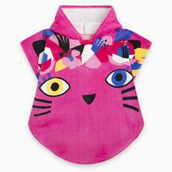 """Μπουρνούζι πόντσο με διάφανη θήκη """"Pink cat"""""""