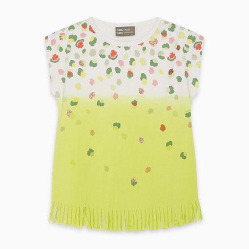 """Κοντομάνικη μπλούζα με κρόσσια """"Green Dots"""""""
